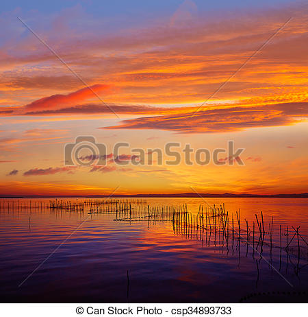Stock Photos of La Albufera lake sunset in El Saler of Valencia at.