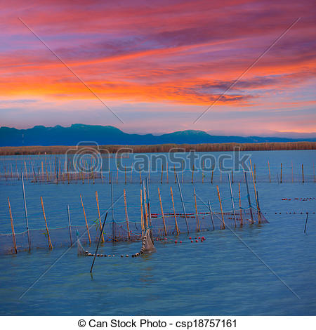 Stock Image of Albufera sunset lake park in Valencia el saler.