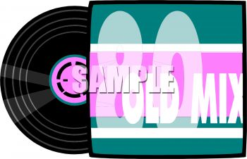 Royalty Free Clip Art Image: 80s Music Record Album and Cover Sleeve.