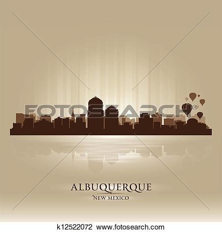 Clipart of Albuquerque, New Mexico skyline city silhouette.