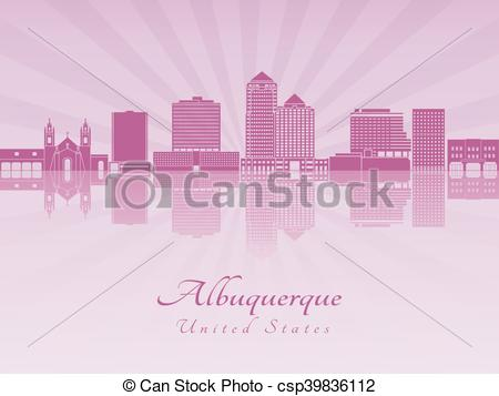 Vector Clip Art of Albuquerque V2 skyline in purple radiant orchid.
