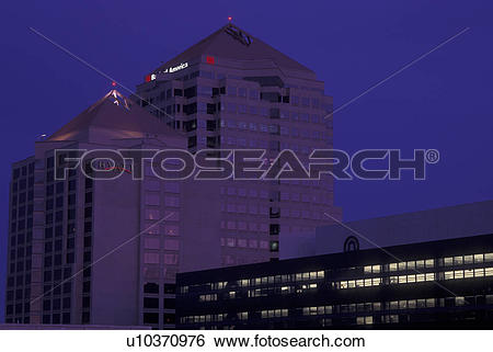Stock Images of Albuquerque, NM, New Mexico, downtown, evening.