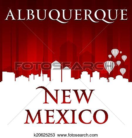 Clipart of Albuquerque New Mexico city skyline silhouette red.