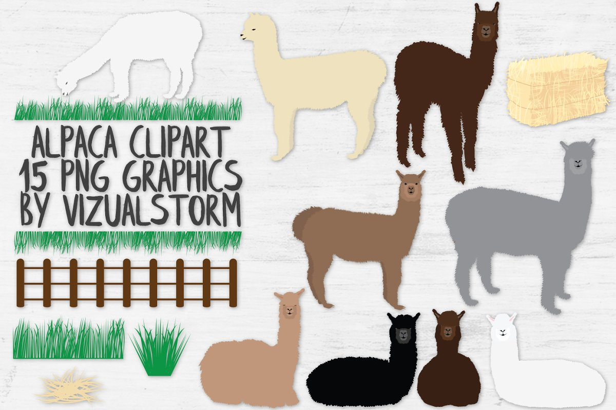 Alpaca Clipart and Accessories.