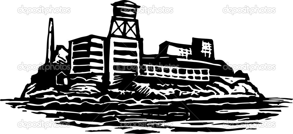 Woodcut illustration of Alcatraz Island Federal Prison — Stock.