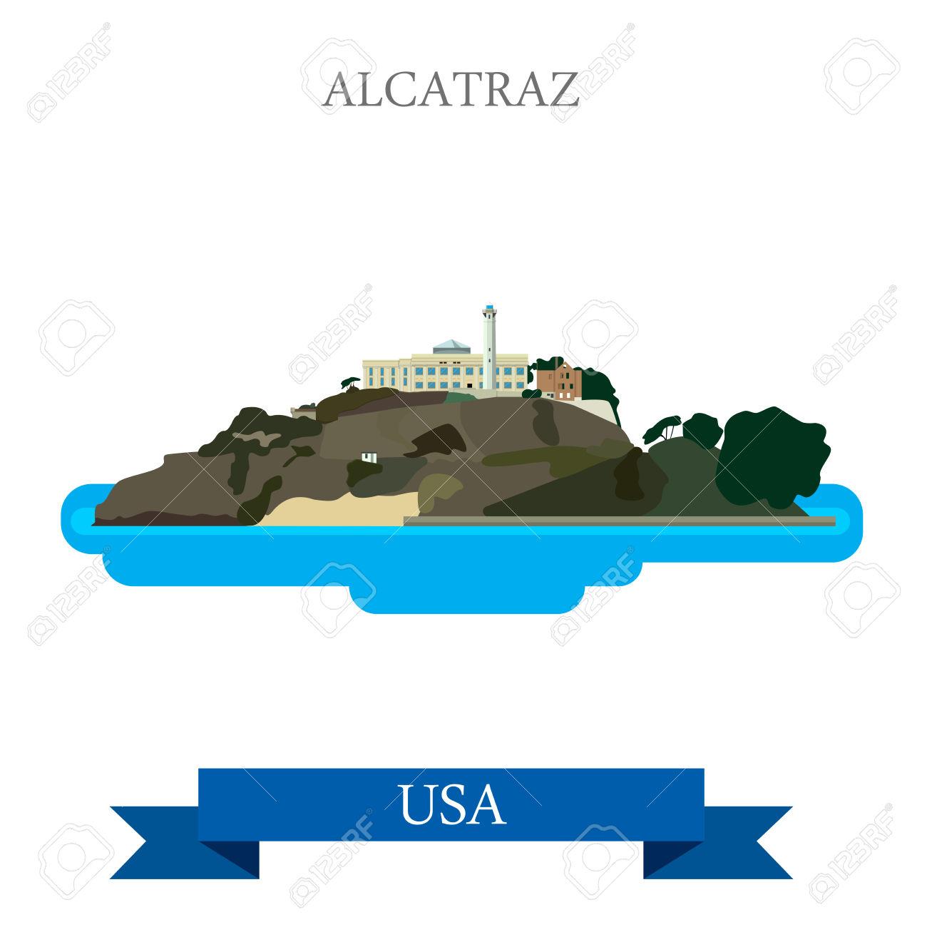 Alcatraz Island Prison In San Francisco United States. Flat.