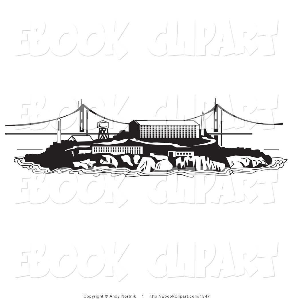 Vector Clip Art of the Prison on Alcatraz Island with the Golden.