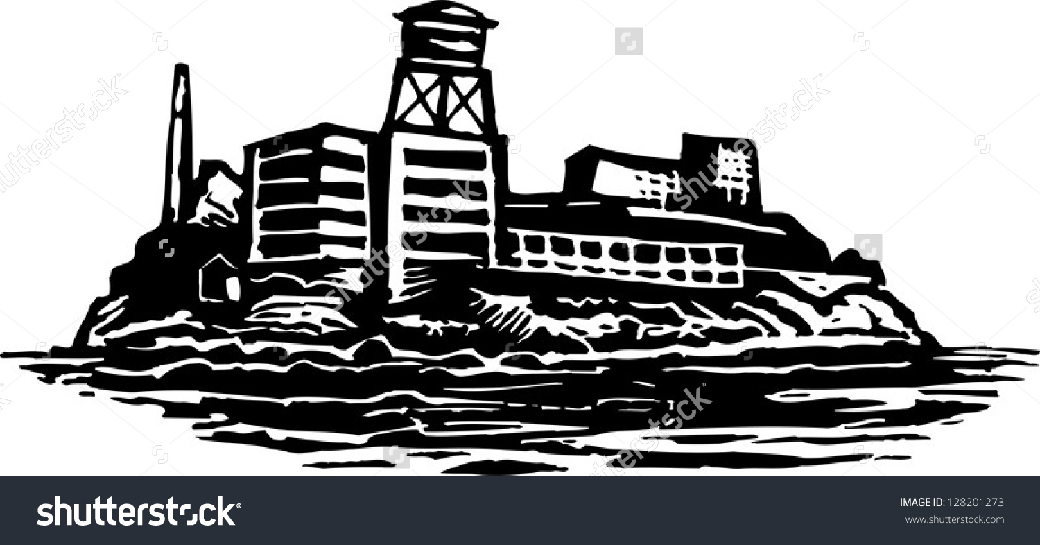 Black White Vector Illustration Alcatraz Island Stock Vector.