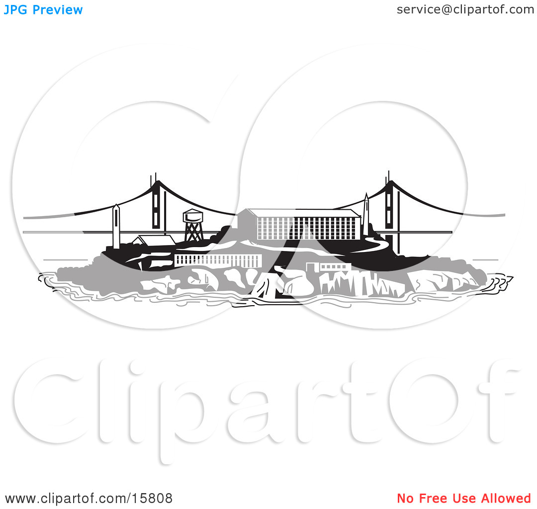 the Prison on Alcatraz Island Clipart Illustration by Andy Nortnik.