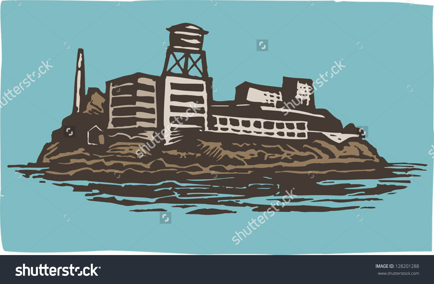 Vector Illustration Alcatraz Island Federal Prison Stock Vector.