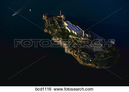 Stock Images of Aerial view of Alcatraz prison in San Francisco.
