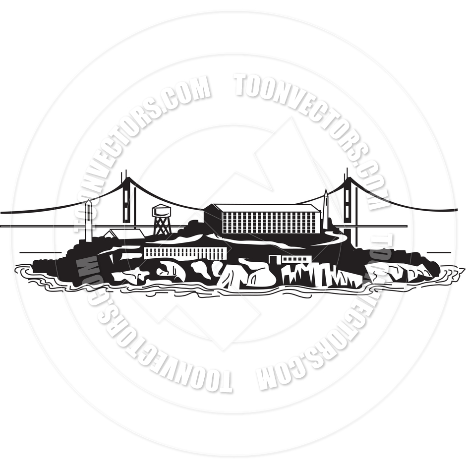 Alcatraz Prison Vector Illustration by Clip Art Guy.