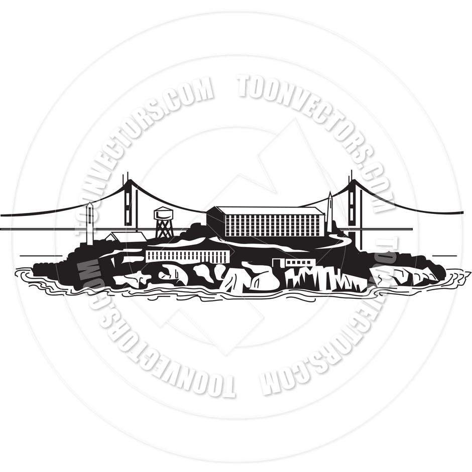 Alcatraz Prison Vector Illustration by Clip Art Guy.