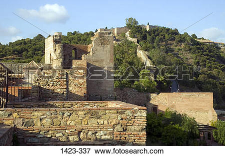 Picture of Ruins of a fort, Alcazaba, Malaga, Andalusia, Spain.