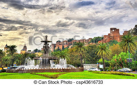 Stock Photos of Tres Gracias Fountain and Alcazaba Castle in.