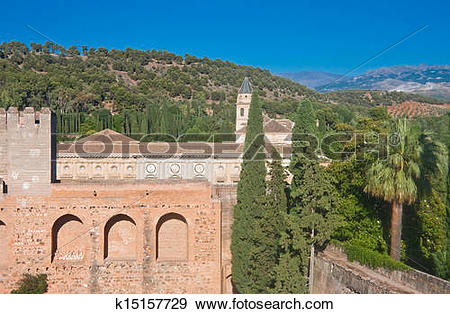 Stock Photograph of Alcazaba castle in Alhambra. Granada, Spain.