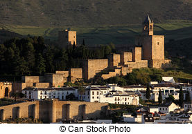 Stock Photos of Moorish castle Alcazaba in Antequera, Andalusia.
