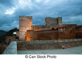 Stock Images of Alcazaba of Alhambra and Granada.