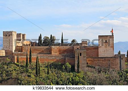 Stock Photo of The Alcazaba of the Alhambra in Granda, Spain.