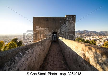 Stock Photography of The Alcazaba is a palatial fortification in M.