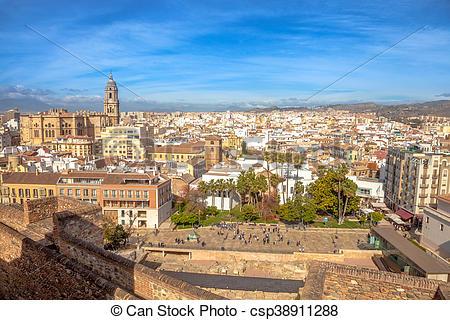 Pictures of Alcazaba Malaga skyline.
