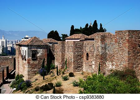 Stock Photography of Citadel wall, Alcazaba de Malaga..