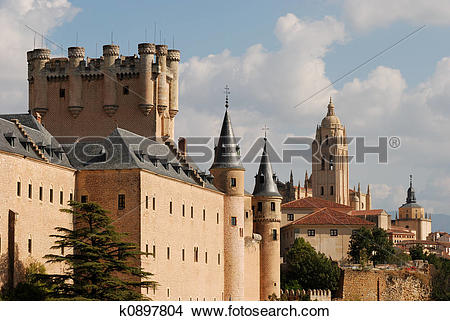 Stock Photo of Alcazar and Cathedral of Segovia, Spain k0897804.