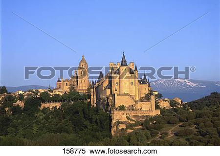 Stock Image of Castle on hill, Alcazar Castle, Sierra De.