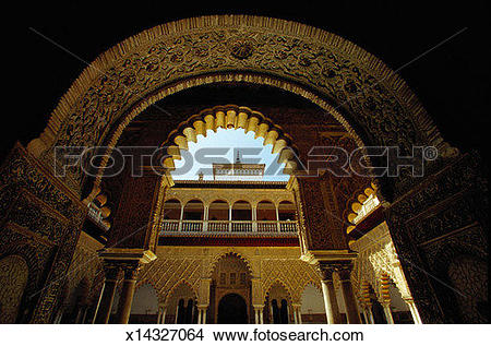Stock Photo of Fluted Arches, The Alcazar, Seville x14327064.
