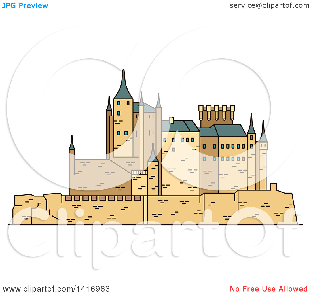 Clipart of a Sketched Spanish Landmark, Moorish Castle Alcazar of.