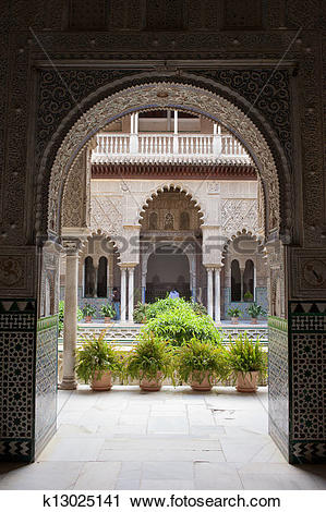 Stock Photography of Courtyard of the Dolls in Alcazar of Seville.