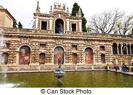 Stock Image of Alcazar of Seville, in Spain.