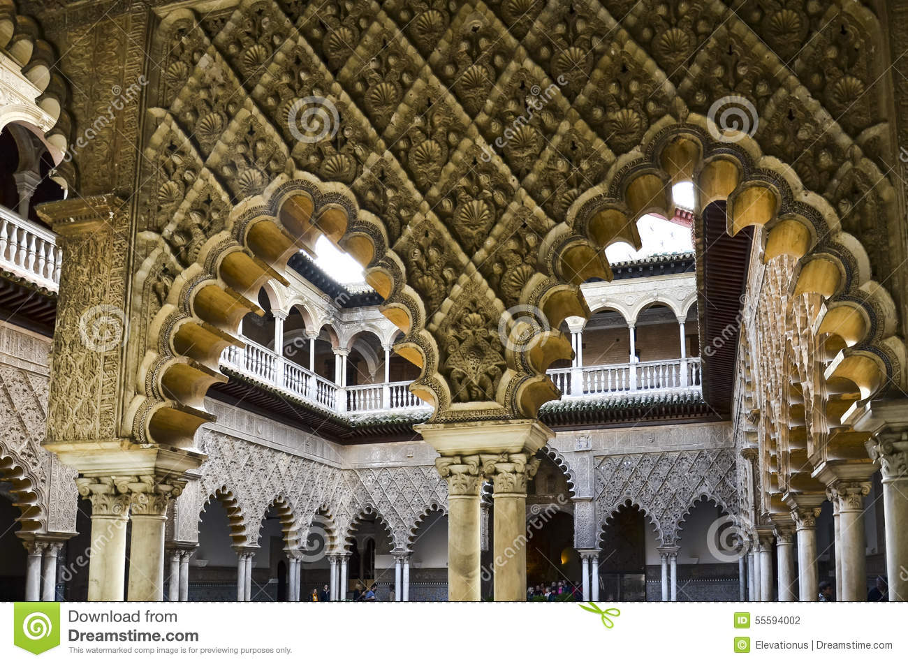 Arches In Royal Alcazar Of Seville, Spain Stock Photo.