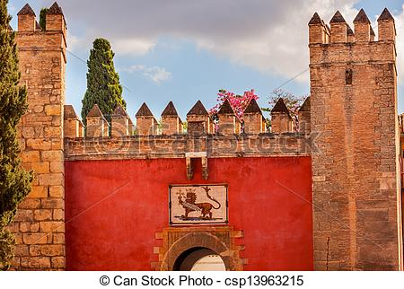 Stock Photography of Red Front Gate Alcazar Royal Palace Seville.