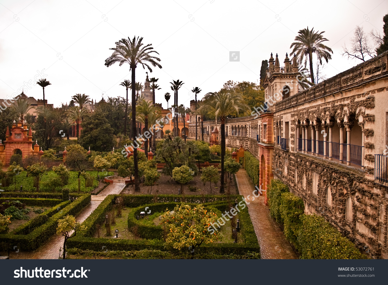 Gardens Alcazar Seville Spain Stock Photo 53072761.