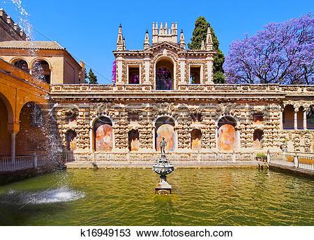 Stock Photo of Gardens in Alcazar of Seville, Spain k16949153.