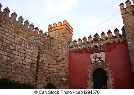 Stock Image of Lion's Gate. Entry of the Real Alcazar of Seville.