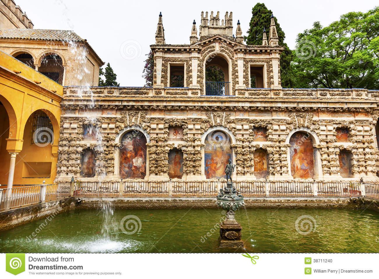 Fountain Alcazar Royal Palace Seville Spain Stock Photo.