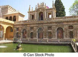 Stock Images of Gardens of Alcazar, Seville, Spain.