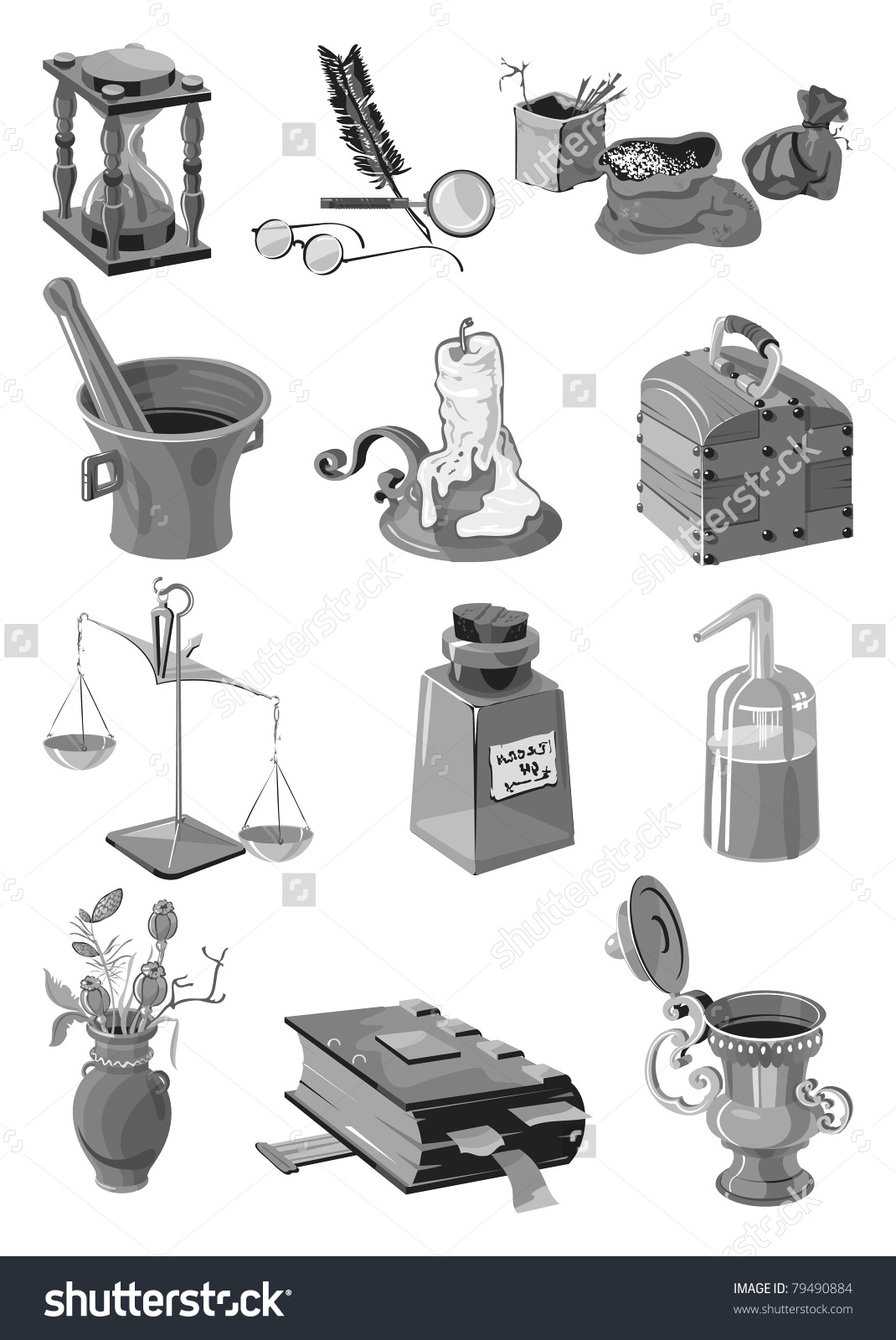 Set Of The Old Alchemist, Gray Scale, Vector.