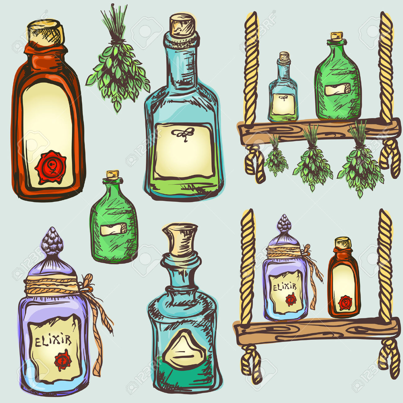 Alchemy Magic Craft, Set Of Potions And Elixirs Royalty Free.