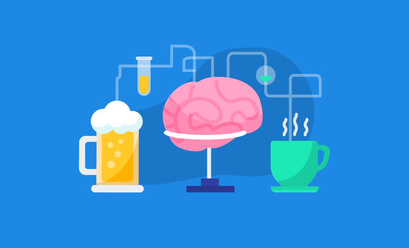 This is your brain on caffeine vs. alcohol.