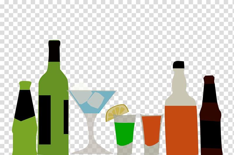 Several bottles illustration, Distilled beverage Wine Beer.