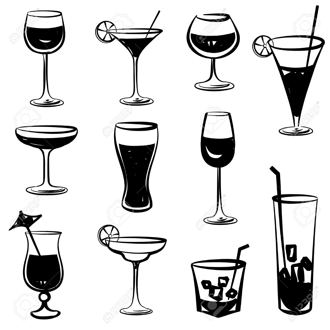 403 Champagne Glass free clipart.