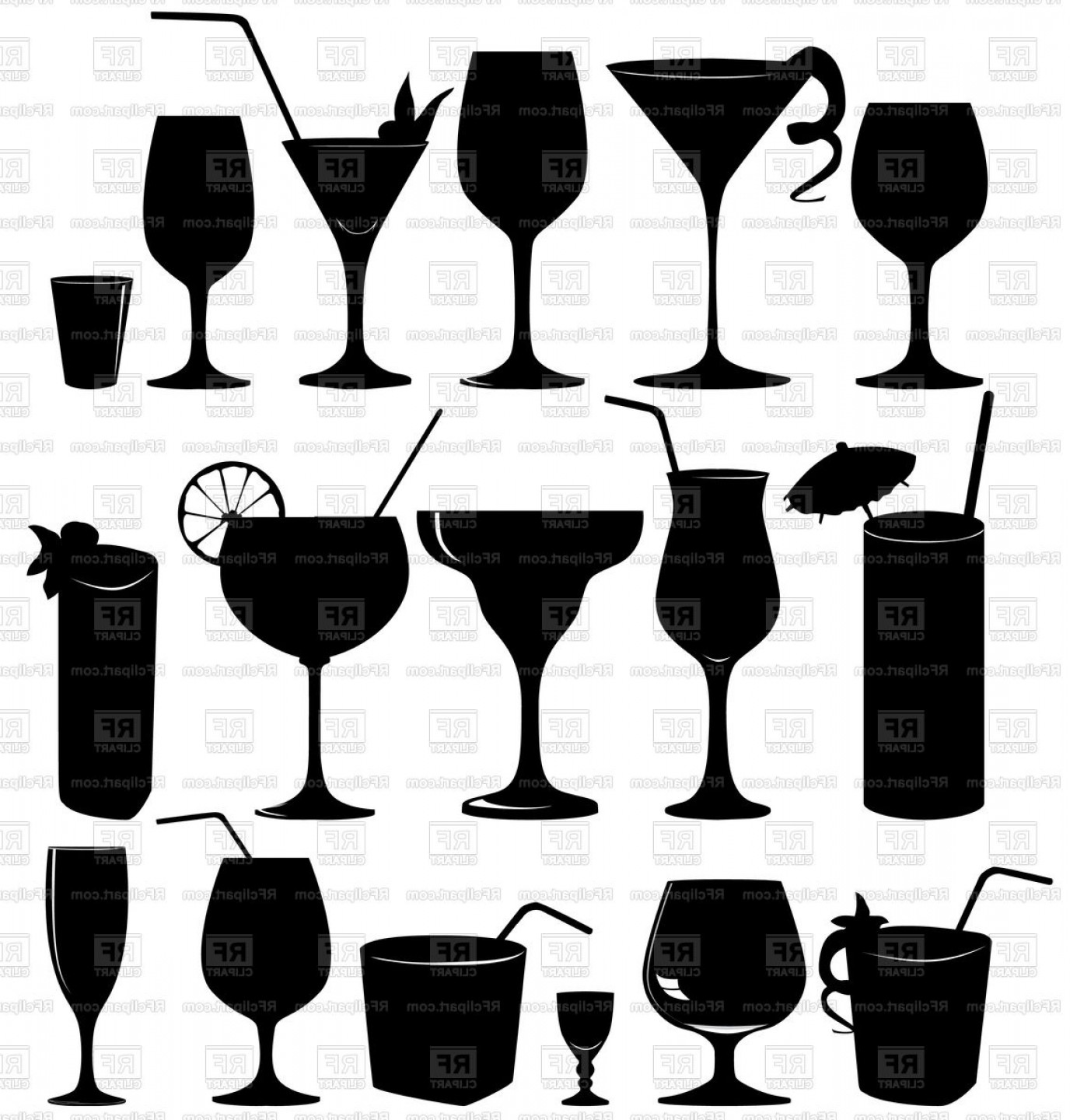 Silhouettes Of Cocktails And Wine Glass Alcohol Vector.