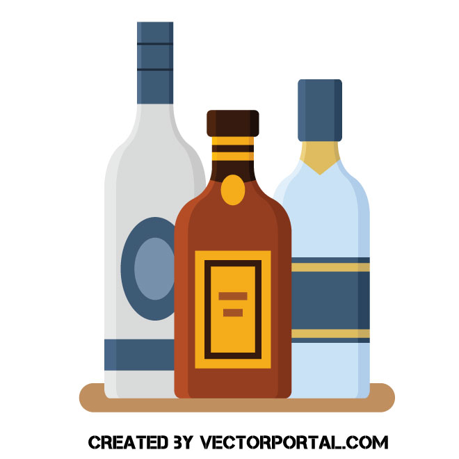 Bottles with alcohol clip art.