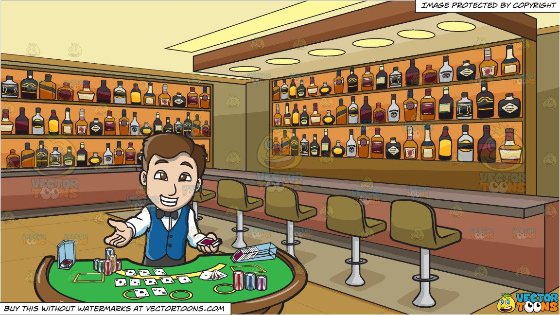 A Happy Male Casino Blackjack Dealer and Inside A Bar Stocked With Bottles  Of Alcohol Background.