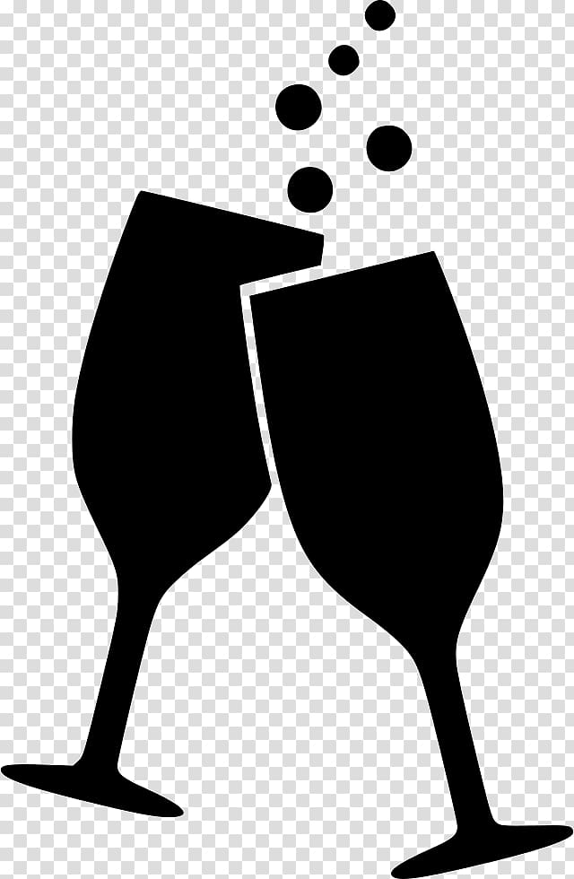 Two champagne flutes illustration, Wine glass Alcoholic.
