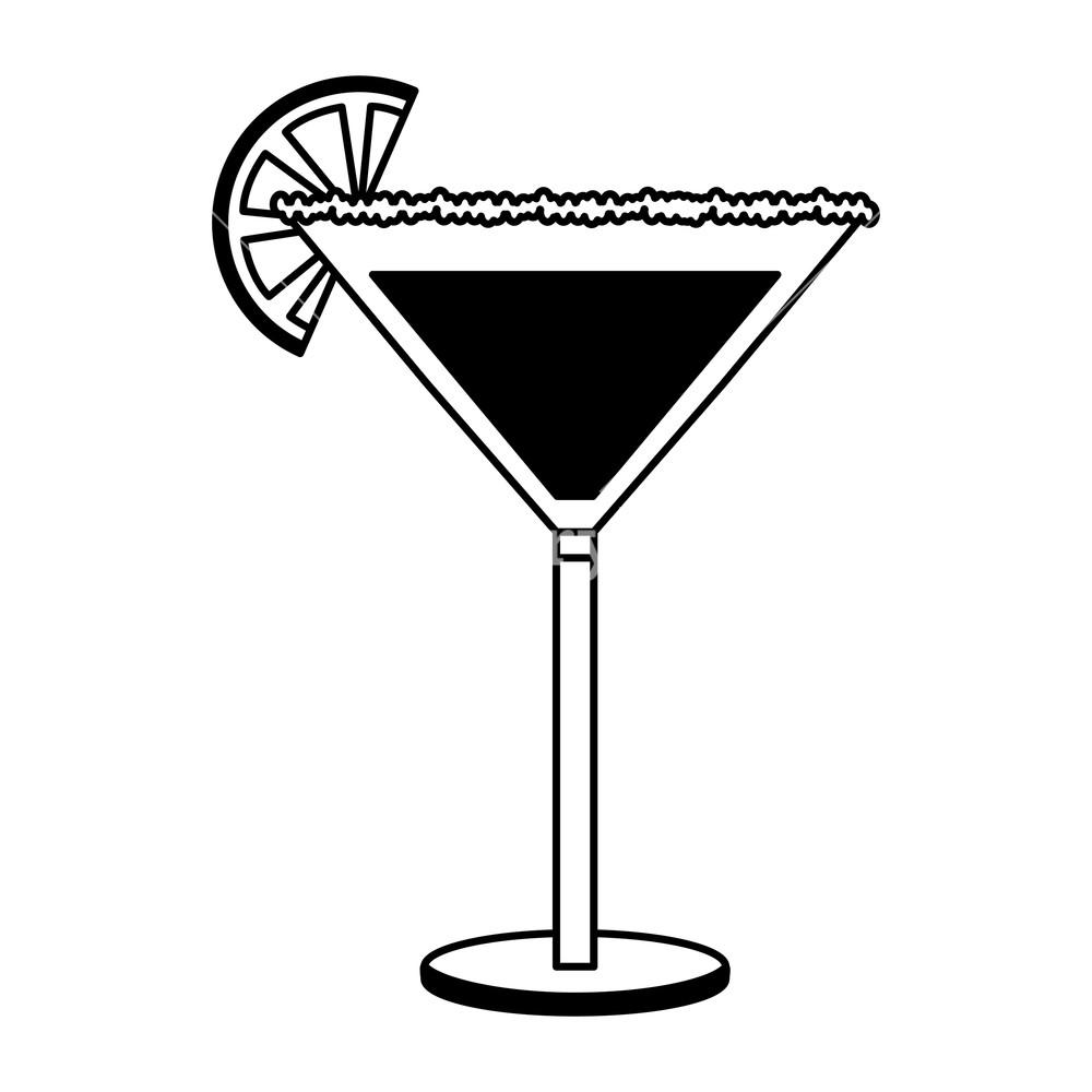 cocktail glass drink alcohol salt orange slice vector illustration.