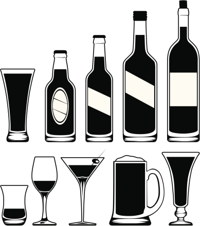 Alcohol clipart black and white.